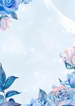 Ilustração desenhada à mão em moldura de rosa azul