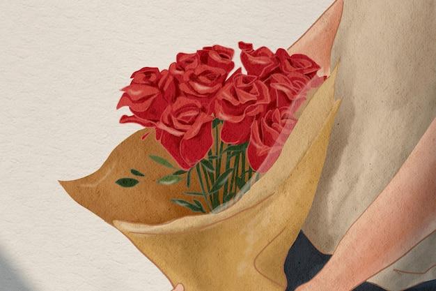 Ilustração desenhada à mão para presente de dia dos namorados buquê de rosas
