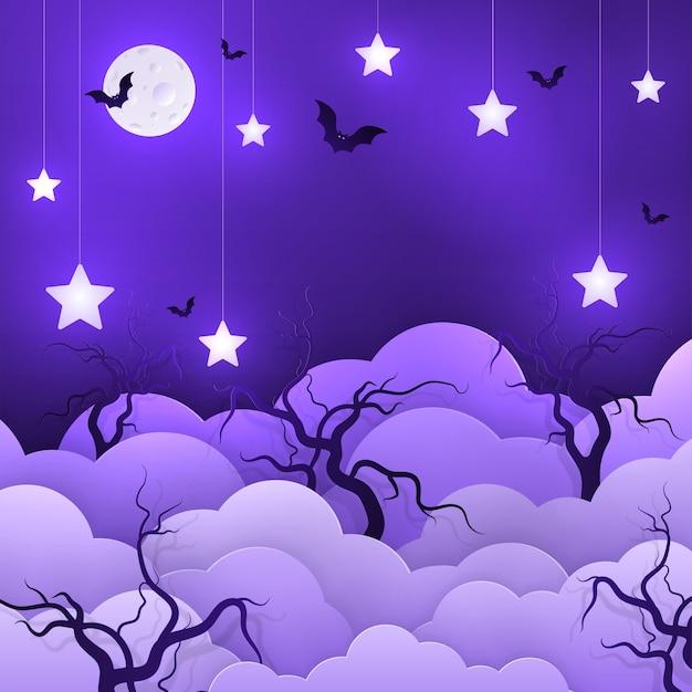 Ilustração desenho animado infantil de fundo com nuvens e estrelas em cordas