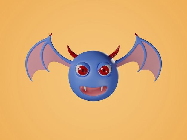 Ilustração digital 3d de morcego surpreso.