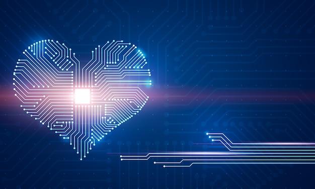 Ilustração digital abstrata da placa de microchip em forma de coração na parede azul.