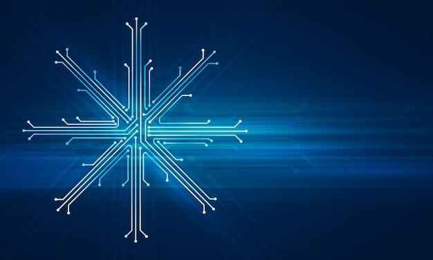 Ilustração digital abstrata da placa de microchip em forma de floco de neve na parede azul. imagem do conceito de tecnologia.