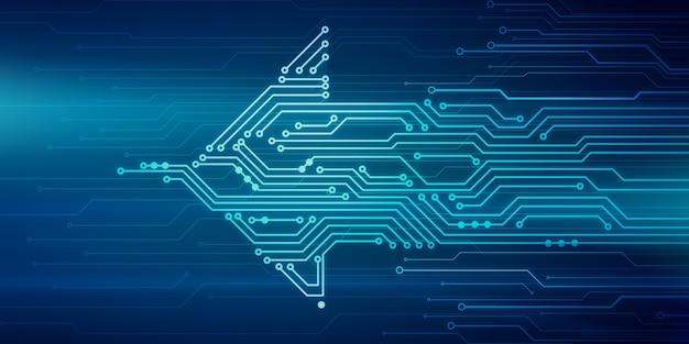 Ilustração digital abstrata da placa de microchip em forma de seta, movendo-se da direita para a esquerda na parede azul. imagem do conceito de tecnologia.