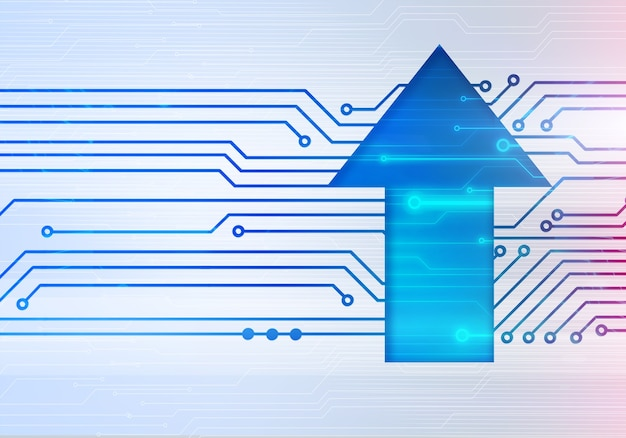 Ilustração digital abstrata da seta para cima na parede do microchip do circuito