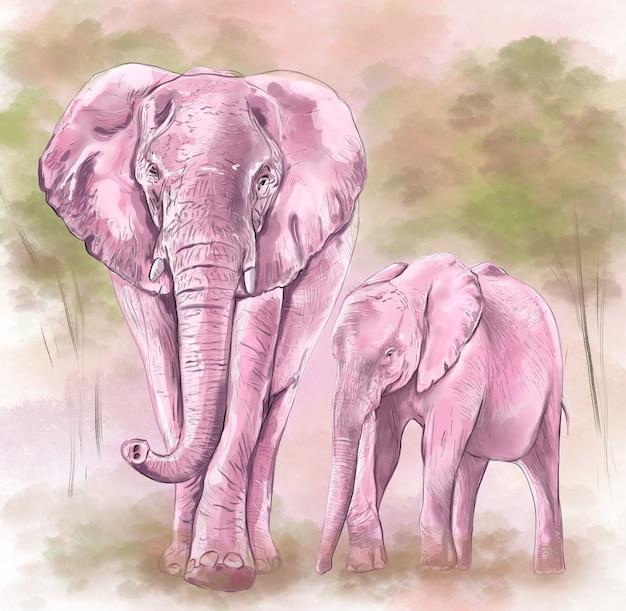Ilustração digital colorida aquarela desenho família de elefantes lilás