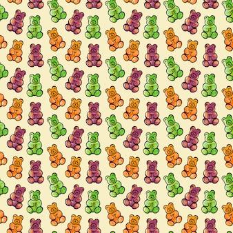 Ilustração digital de um padrão uniforme de balas de geleia em forma de ursinho colorido