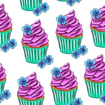 Ilustração digital desenho padrão sem emenda de bolo doce em um fundo branco de alta qualidade