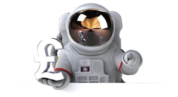 Ilustração divertida de astronauta 3d