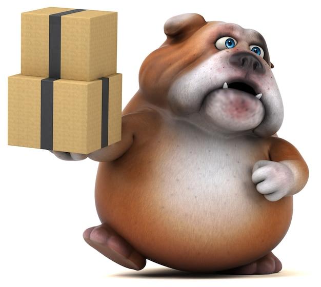 Ilustração divertida de bulldog