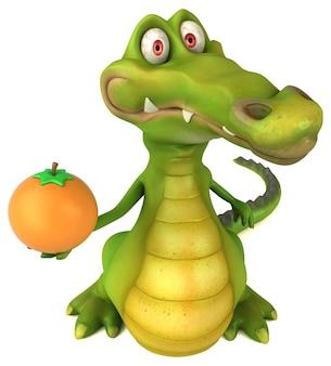 Ilustração divertida de crocodilo
