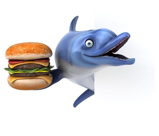 Ilustração divertida de golfinho