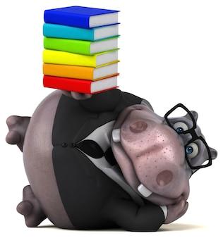 Ilustração divertida de hipopótamo
