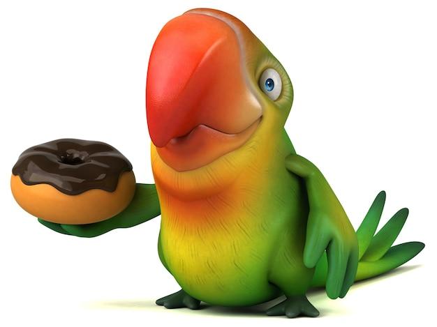 Ilustração divertida de papagaio