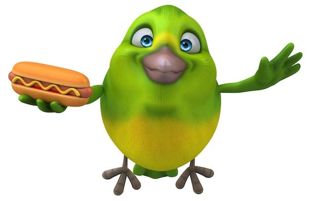 Ilustração divertida de pássaro verde