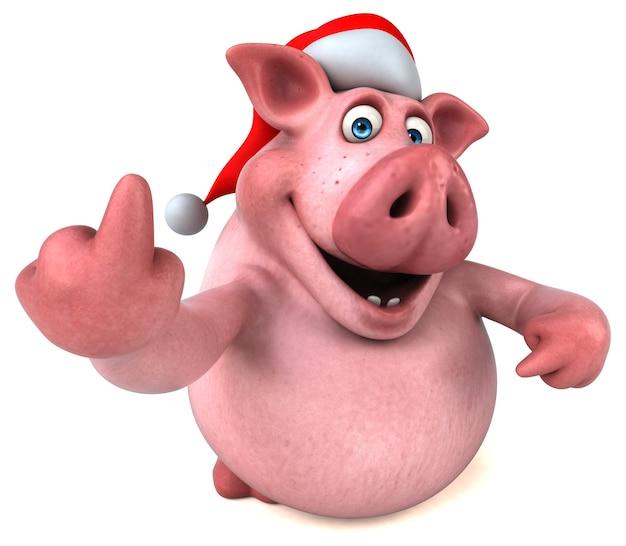 Ilustração divertida de porco