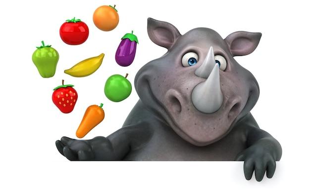 Ilustração divertida de rinoceronte