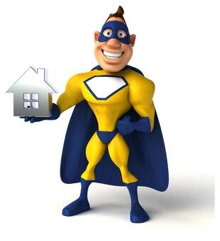 Ilustração divertida de super-herói