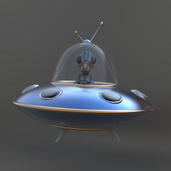 Ilustração divertida de um alienígena