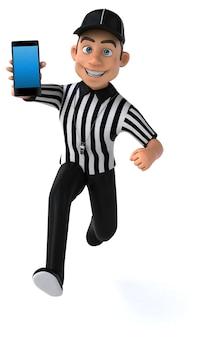 Ilustração divertida de um árbitro americano com um smartphone