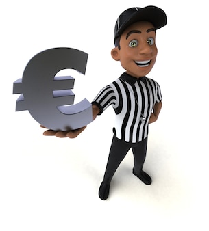 Ilustração divertida de um árbitro americano Foto Premium
