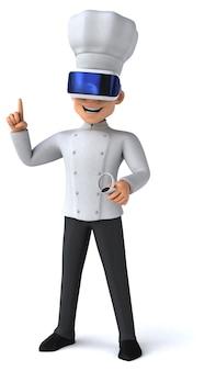Ilustração divertida de um chef com um capacete de realidade virtual