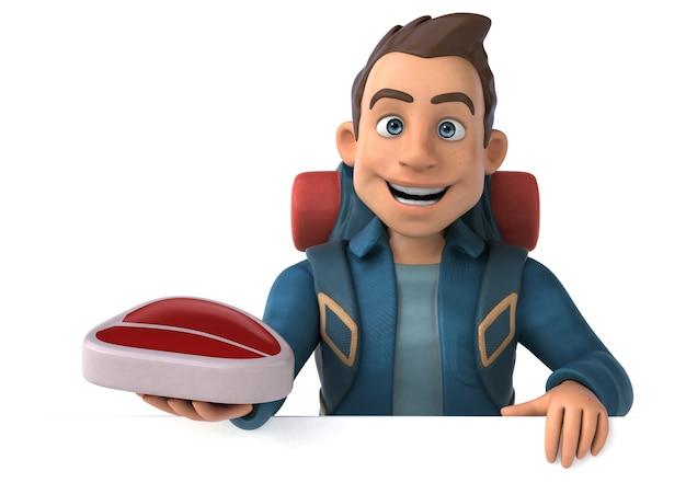 Ilustração divertida de um mochileiro de desenho animado em 3d