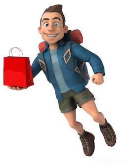 Ilustração divertida de um mochileiro de desenho animado