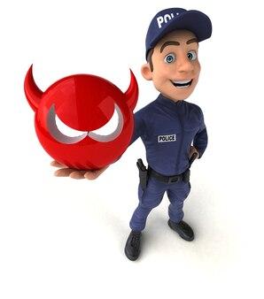 Ilustração divertida de um policial de desenho animado