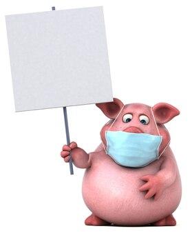 Ilustração divertida de um porco com uma máscara