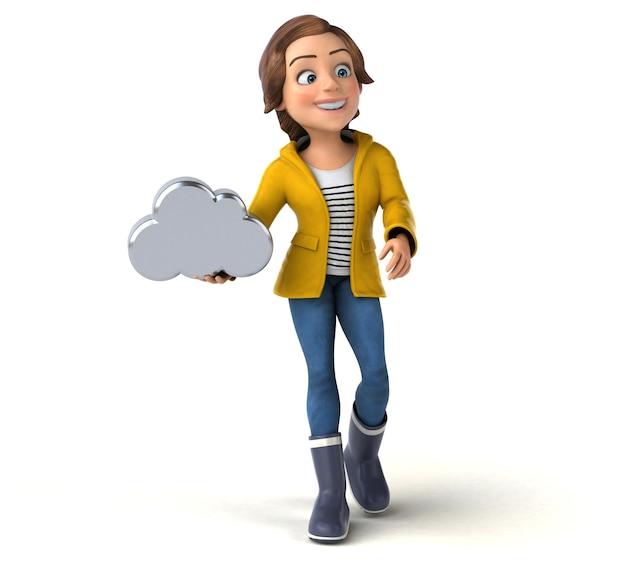 Ilustração divertida de uma adolescente de desenho animado