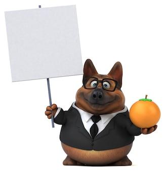 Ilustração divertida do cão pastor alemão