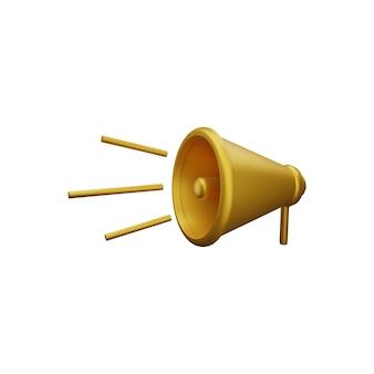 Ilustração do alto-falante de renderização 3d. ícone de alto-falante 3d isolado. hailer alto