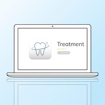 Ilustração do aplicativo de atendimento odontológico no laptop