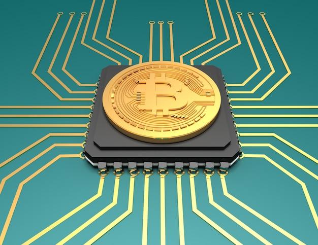 Ilustração do bitcoin sobre o fundo. ilustração renderizada 3d