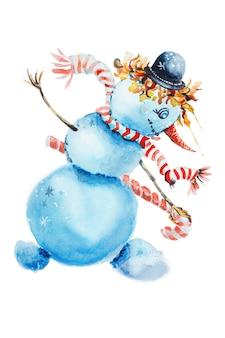 Ilustração do boneco de neve de natal isolado no fundo branco