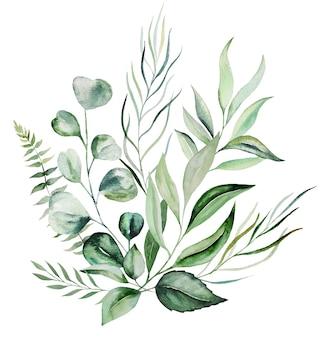 Ilustração do buquê de folhas verdes botânicas em aquarela isolada