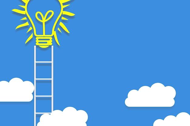 Ilustração do conceito de ideia com escada para as nuvens. design minimalista
