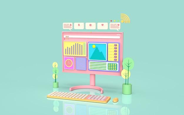 Ilustração do conceito de marketing digital de mídia social renderização em 3d fofa
