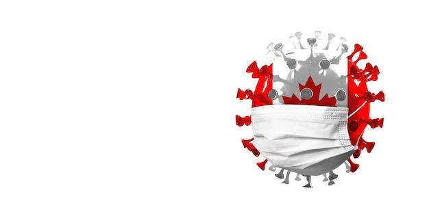 Ilustração do coronavírus covídeo colorido na bandeira nacional do canadá no conceito de máscara facial de pandemia