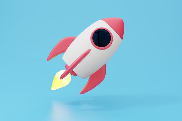 Ilustração do foguete 3d dos desenhos animados. nave espacial branca vermelha voar no espaço.