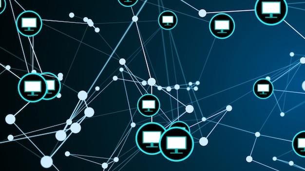 Ilustração do gráfico da estrutura de rede da conexão da ligação do monitor da tela de computador