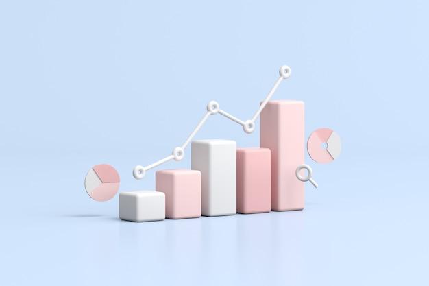 Ilustração do gráfico de negociação de ações, gráfico de estratégia de crescimento, conceito do negócio. renderização 3d.