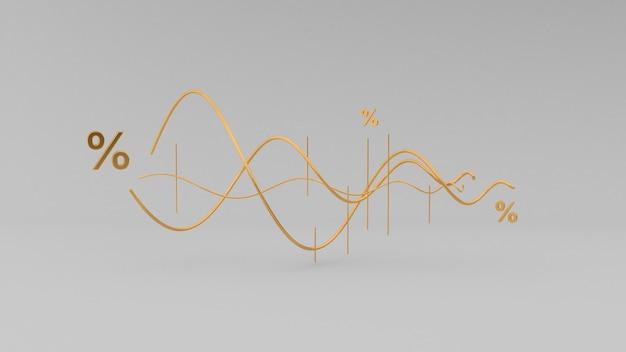 Ilustração do gráfico dourado ou gráfico do mercado de ações, renderização em 3d.