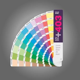 Ilustração do guia de paleta de cores para impressão offset e livro guia para web designer