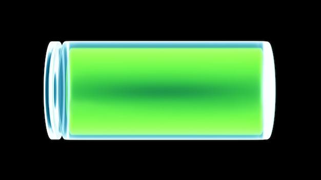 Ilustração do ícone de bateria 3d totalmente carregada, recarga de dispositivo smartphone brilhante de néon, conceito de energia e tecnologia