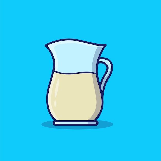 Ilustração do ícone de desenho animado do leite no jarro