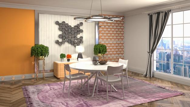 Ilustração do interior da sala de jantar