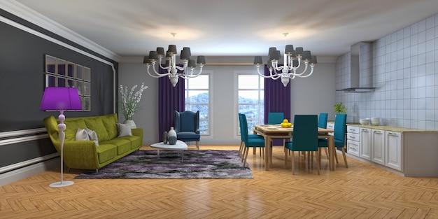 Ilustração do interior de uma sala de estar