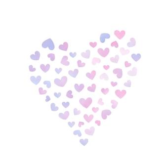 Ilustração do padrão de coração em aquarela