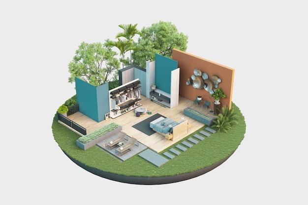 Ilustração do padrão de corte arquitetônico com trabalho interior